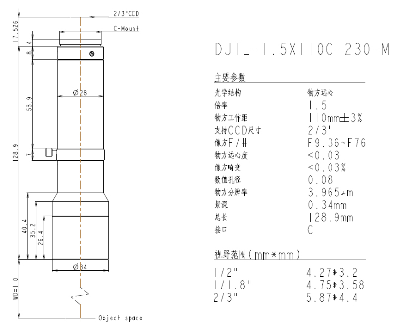 DJTL-1.5X110C-230-M远心镜头规格书