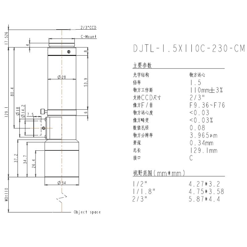 DJTL-1.5X110C-230-CM远心镜头规格书