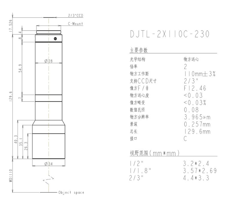DJTL-2X110C-230远心镜头规格书
