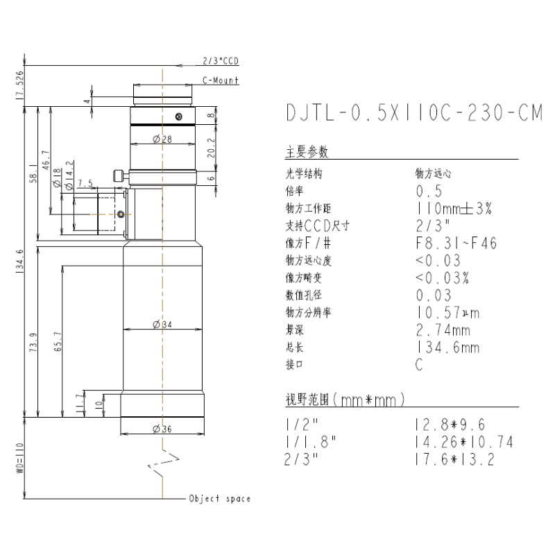DJTL-0.5X110C-230-CM远心镜头规格书