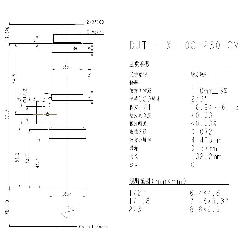 DJTL-1X110C-230-CM远心镜头规格书
