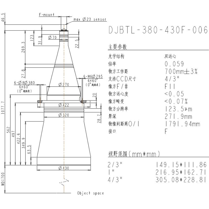 DJBTL-380-430F-006双远心镜头参数